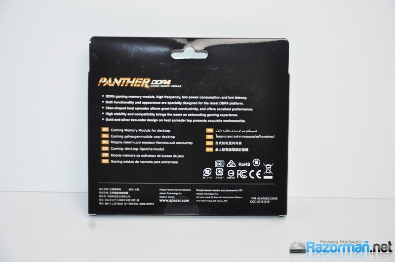 Review Apacer Panther DDR4 2400 Mhz 4