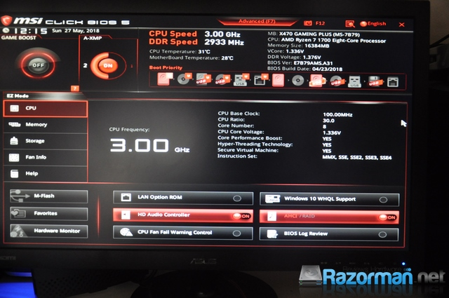 Review MSI X470 Gaming Plus – MSI X470 GAMING PLUS: BIOS – Razorman