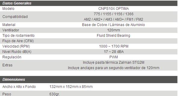 caracteristicas tecnicas zalman cnps 10x optima