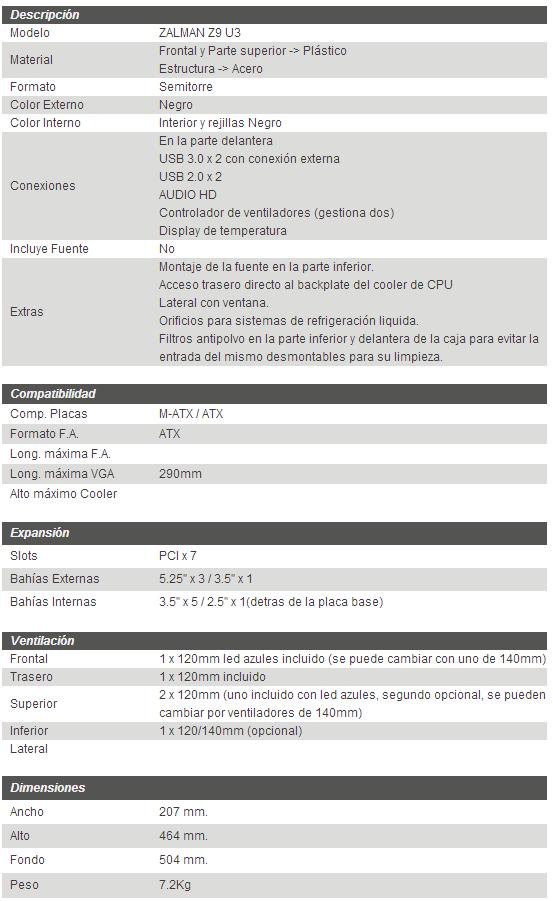 caracteristicas tecnicas zalman z9 usb 3.0