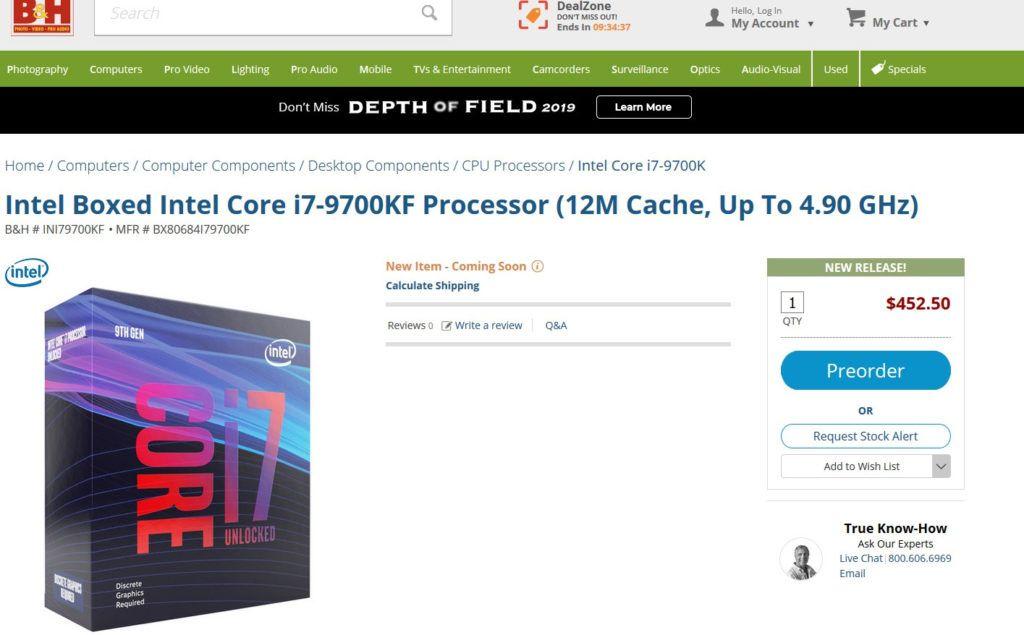 Precios Intel I9-9900KF, Intel I7-9700KF 1