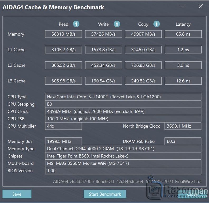 Review Intel Core i5 11400F 48