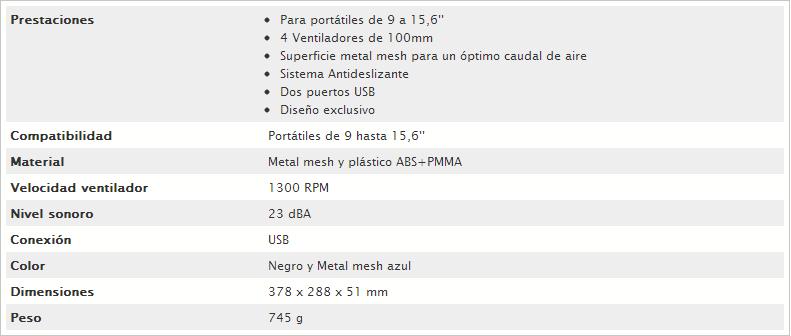 Caracteristicas tecnicas DEEP COOL MULTICORE X4