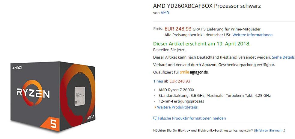 AMD Ryzen 5 2600X listado por error en Amazon